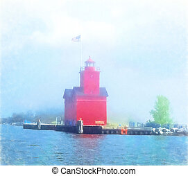 Michigan red lighthouse impressionism