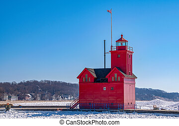 Michigan red lighthouse in winter