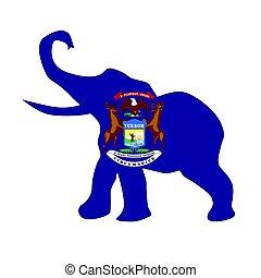 Michigan Republican Elephant Flag
