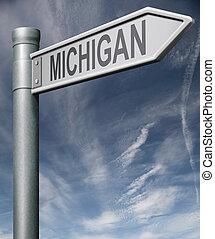 Michigan road sign usa states clipping path - Michigan road...