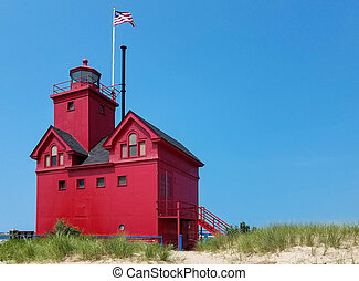 michigan, rouges, phare