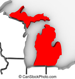 A 3d render of a map of the state of Michigan