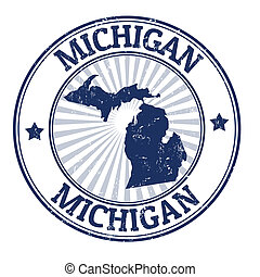 Michigan stamp - Grunge rubber stamp with the name and map ...
