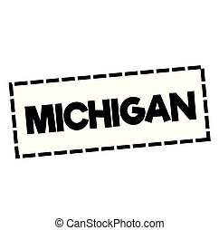 MICHIGAN stamp on white. Stamps and advertisement labels...