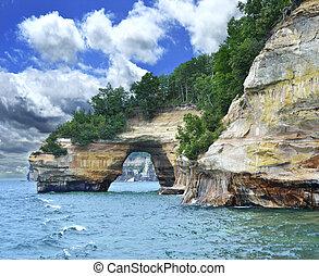 michigan, stan, jeziorowy brzeg, skała, krajowy, ...