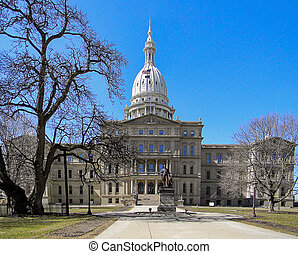 Michigan State capitol building in Lansing Michigan in early spring
