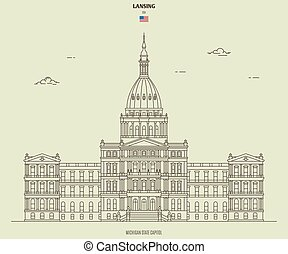 Michigan State Capitol in Lansing, USA. Landmark icon in linear style