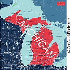 Michigan state detailed editable map