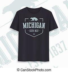 Michigan state graphic t-shirt design, typography, print....
