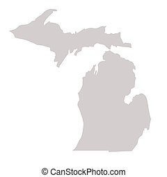 Michigan State map isolated on a white background, USA.