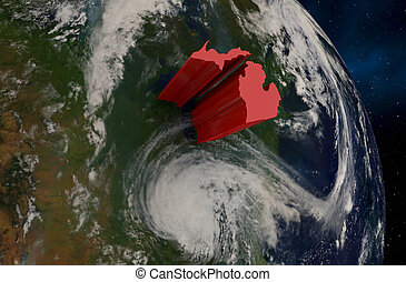 Michigan State MI Earth Satellite Space 3d Illustration - Elements of this image furnished by NASA