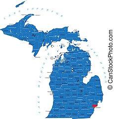 Michigan state political map