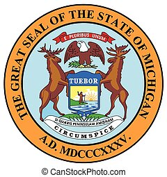 Michigan State Seal - The state seal of Michigan over a...