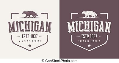 Michigan state textured vintage vector t-shirt and apparel...