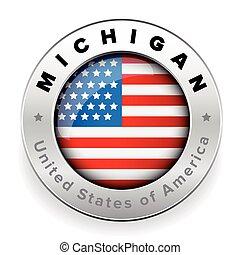 Michigan Usa flag badge button