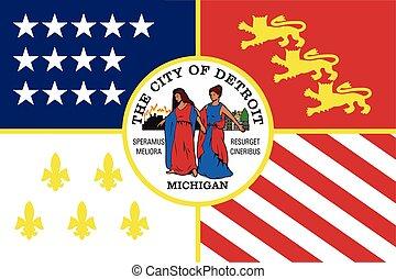 michigan, usa., formato, bandera, vector, detroit