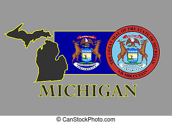 Michigan state map, flag, seal and name.