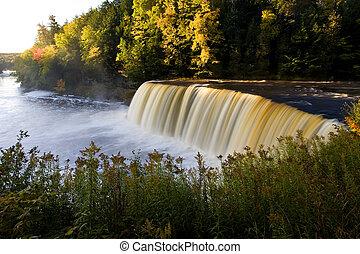 Michigan Waterfall In Autumn Upper Tahquamenon Falls...