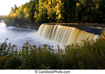 Michigan Waterfall In Autumn Upper Tahquamenon Falls...