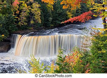 Michigan's Tahquamenon Falls in Autumn - Tahquamenon Falls...