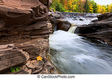 Michigan's Upper Peninsula Bonanza Falls in Autumn - Vibrant...