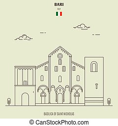 micholas, italy., repère, basilique, bari, saint, icône