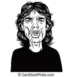 Mick Jagger Hand Drawn Portrait Vector Drawing