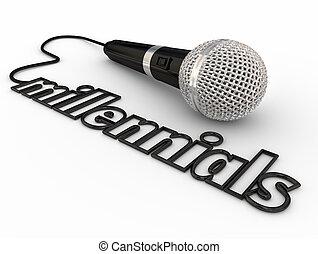 micrófono, alcanzar, generación, altavoces, podcasts,...