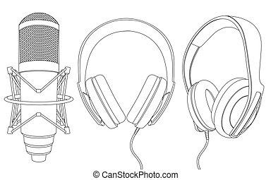 micrófono, audífonos
