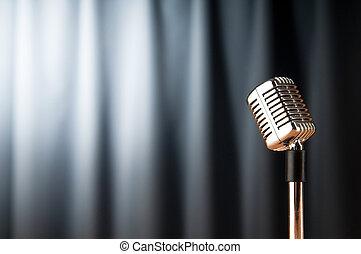 micrófono, audio, contra, plano de fondo