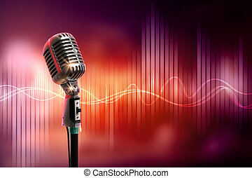 micrófono, audio, estilo, retro