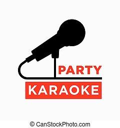 micrófono, barra, club, etiqueta, ofr, vector, fiesta, ...