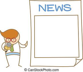 micrófono, carácter, noticias, caricatura, oratoria, hombre