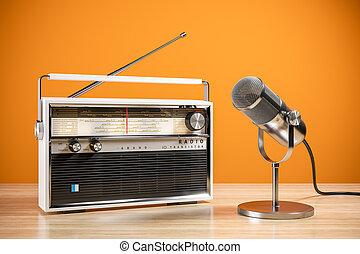 micrófono, concepto, radio, escritorio, station., mesa., 3d