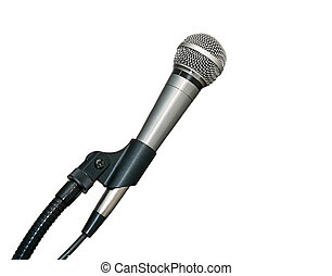 micrófono, en, estante