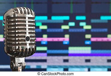 micrófono, encima, grabación, fondo., retro, software