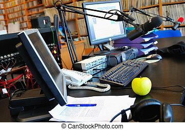 micrófono, estación, radio