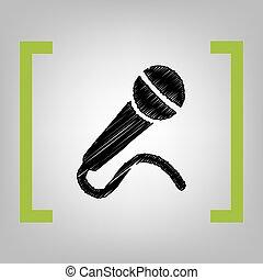 micrófono, illustration., corchetes, cidra, grayish, señal, fondo., negro, vector., garabato, icono