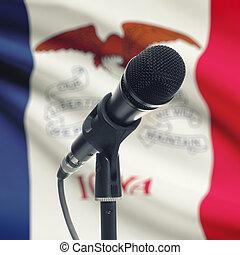 micrófono, iowa, -, estado, bandera de los e.e.u.u, estante...