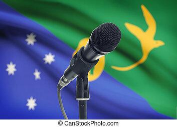 micrófono, isla, nacional, -, bandera, estante, plano de ...
