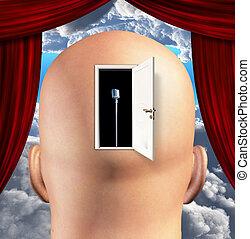 micrófono, mente, dentro