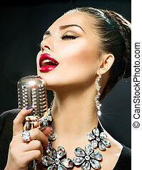 micrófono, mujer, canto, retro