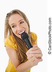 micrófono, niña, vista, fisheye, canto, rubio