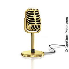 micrófono, oro, aislado, fondo., orador, concep, blanco