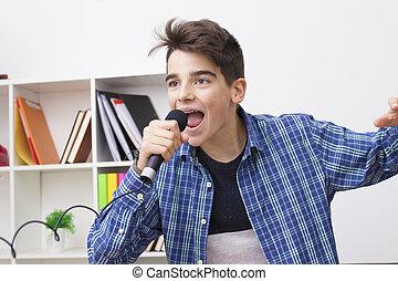 micrófono, preteen, adolescente, hogar, niños, canto, o