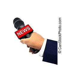 micrófono, reportero, llevar a cabo la mano