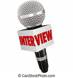 micrófono, reportero, obteniendo, respuestas, hacer...