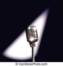 micrófono, retro, etapa