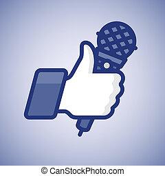 micrófono, símbolo, arriba, like/thumbs, karaoke, icono