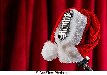 micrófono, sombrero, retro, santa